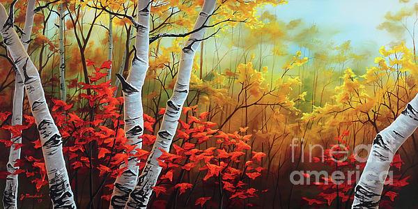 Birch Painting - Autumn Fire by Joe Mandrick