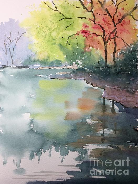 Water Reflection Painting - Autumn Lake by Yohana Knobloch
