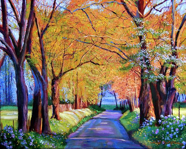 Autumn Painting - Autumn Lane by David Lloyd Glover