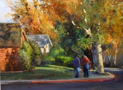 Autumn On Acacia Street Painting by Gil Dellinger