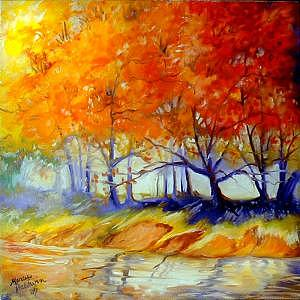 Tree Painting - Autumn On The Lake by Marcia Baldwin