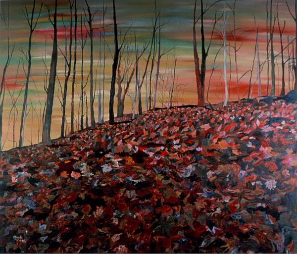 Landscape Painting - Autumn by Oudi Arroni