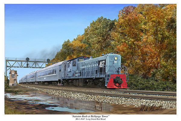 Trains Painting - Autumn Rush At Bethpage Tower by Mark Karvon