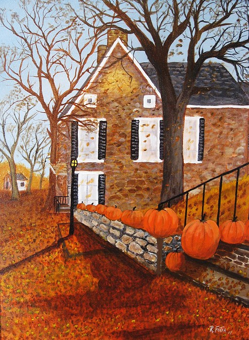 Stone House Painting - Autumn Stone House by Rich Fotia