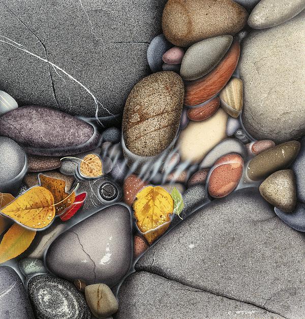 Jon Q  Wright Painting - Autumn Stones by JQ Licensing