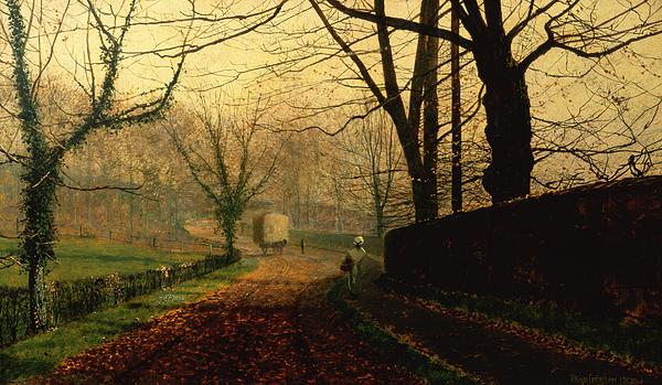 Near Painting - Autumn Sunshine Stapleton Parknear Pontefract  by John Atkinson Grimshaw
