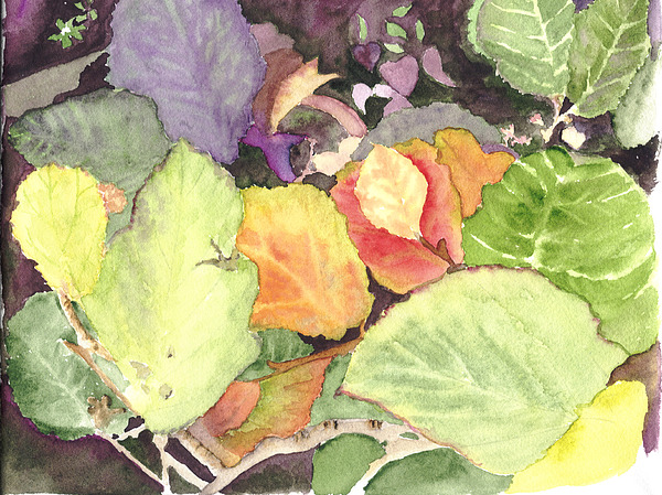 Leaves Painting - Autumns Palette by Peggy Bergey