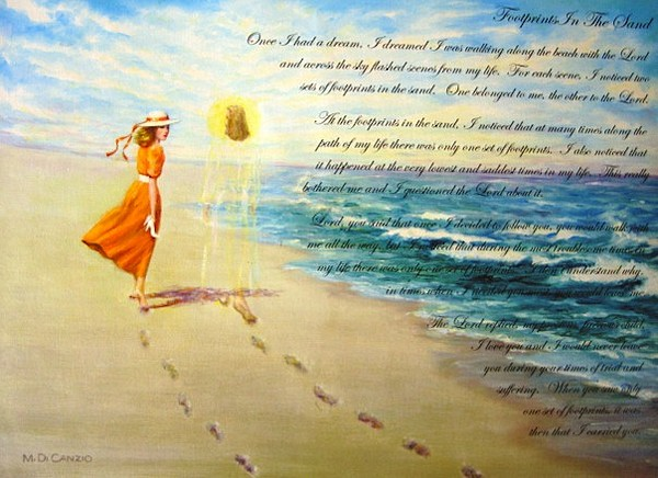 Footprints Painting - Available - Footprints In The Sand  by Jessica Evans