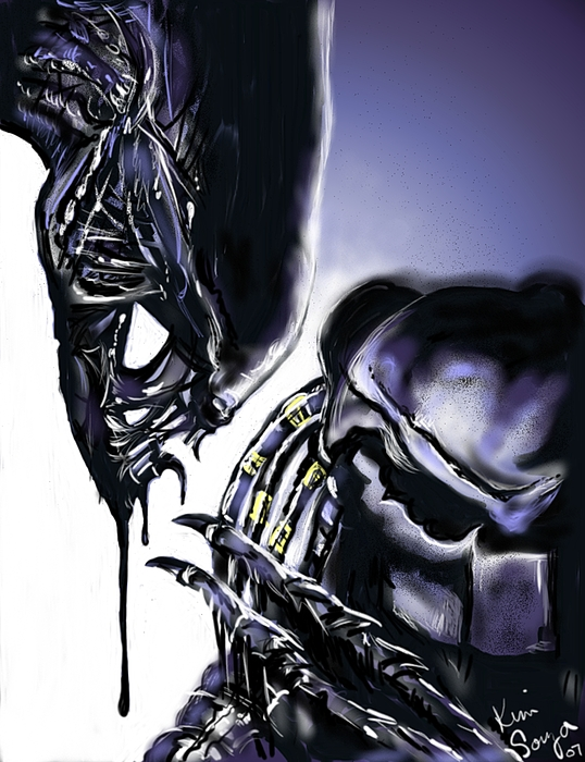 Alien Digital Art - AVP by Kim Souza