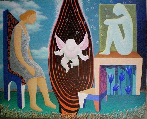 Figurative Painting - Await by Raju Bose