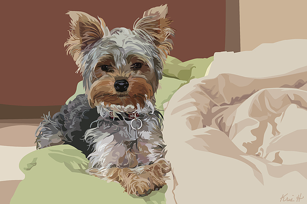 Yorkie Digital Art - Baby Bedhead by Kris Hackleman