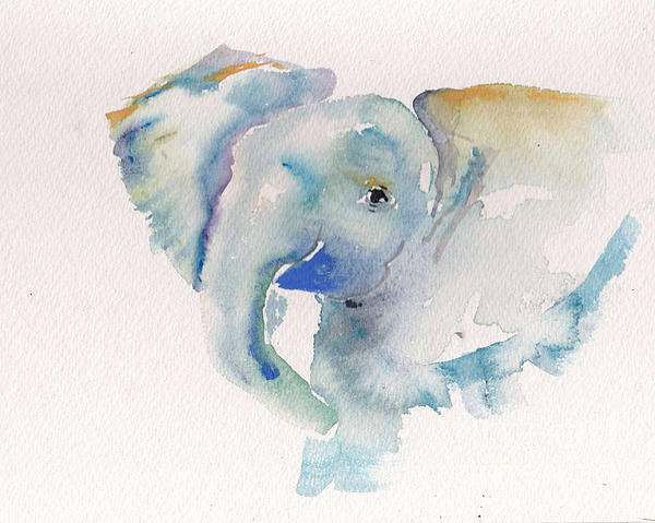 Baby Elephant Painting - Baby Blue by Cher Clemans