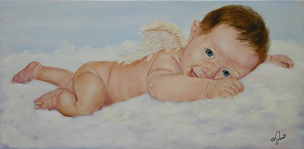 Oil Painting Painting - Baby Cupid by Joni McPherson
