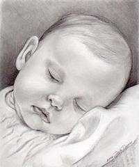 Infant Drawing - Baby Girl Sleeping by Darla Dixon