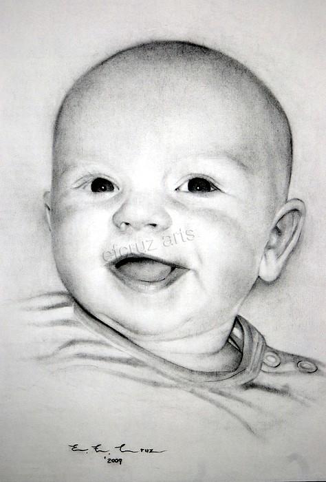 Baby Pencil Drawing Portrait Drawing By Efcruz Arts