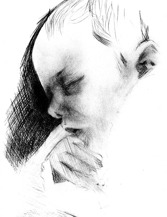 Baby Drawing - Baby by Reza Naqvi