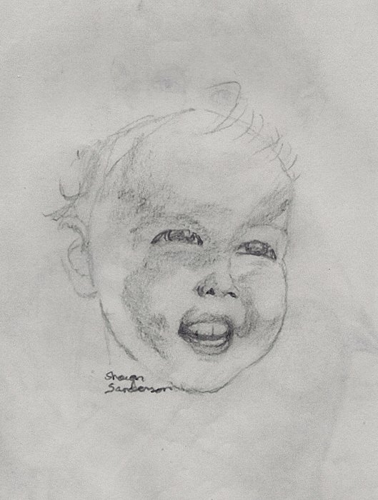 Baby Drawing - Babyface by Shawn Sanderson