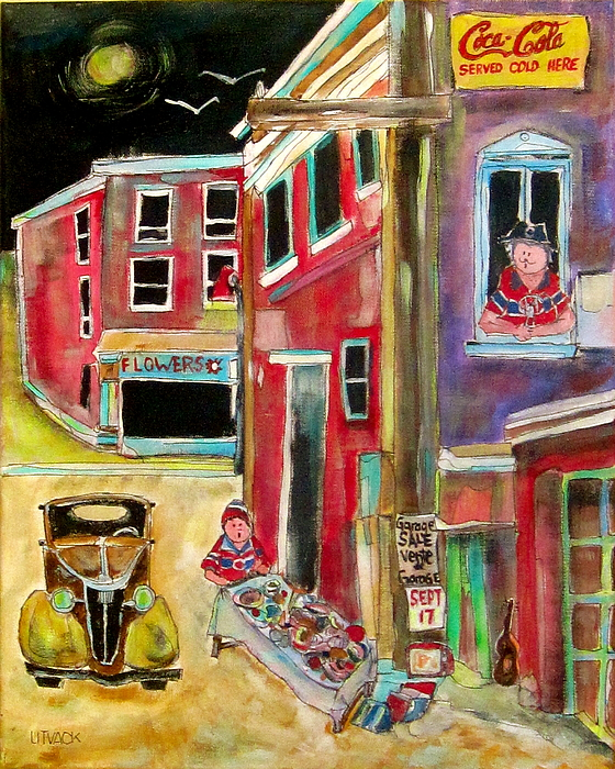 Back Lane Painting - Back Lane Garage Sale by Michael Litvack