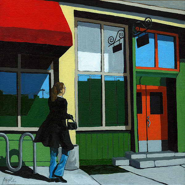 Portrait Painting - Back Street Grill - Urban Art by Linda Apple