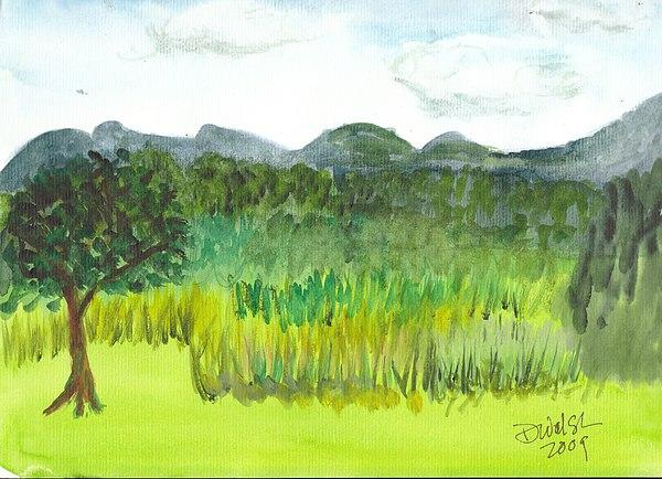 Barton Painting - Backyard In Barton by Donna Walsh