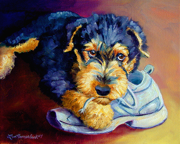 Airedale Terrier Painting - Bad Puppy Airedale Terrier by Lyn Cook