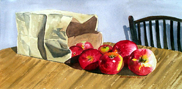 Still Life Print - Bag With Apples by Anne Trotter Hodge