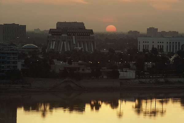 Sunset Photograph - Baghdad And The Tigris River At Sunset by Lynn Abercrombie