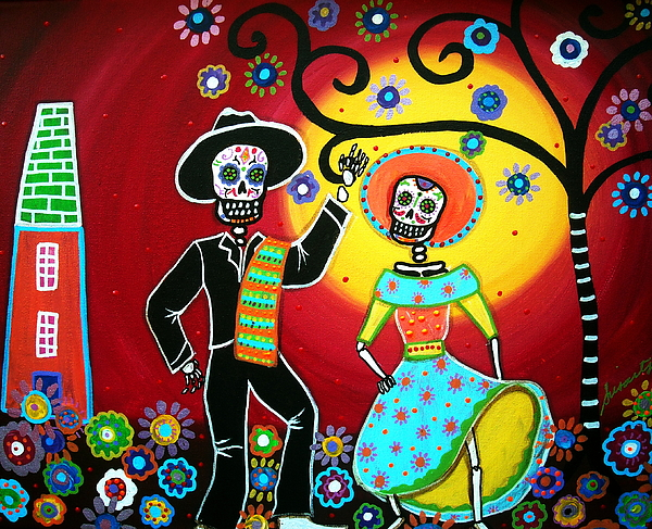 Mariachi Dancing Fiesta Bailar Day Of The Dead Painting Mexican Tree  Dia De Los Muertos Flowers Blooms Paintings Prints Posters Original Folk Art Couple Happy  Painting - Bailar by Pristine Cartera Turkus
