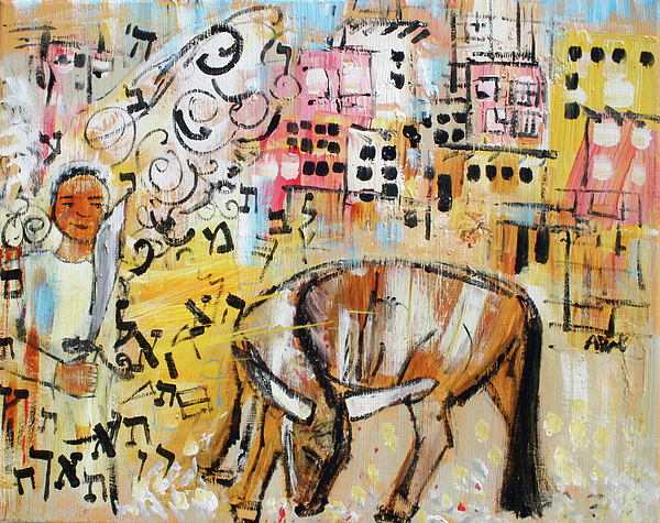Balaam Painting - Balaams Donkey Sees The Angel 201762 by Alyse Radenovic