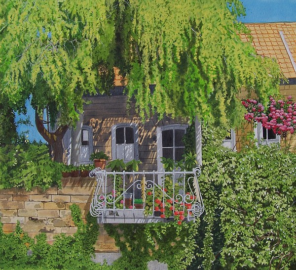 Rural Mixed Media - Balcony With Flowers by Constance Drescher