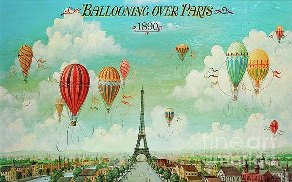 Ballooning Over Paris, Hot Air Balloon Eiffel Tower Painting by ...