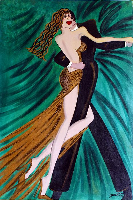 Ballroom Dancers Painting - Ballroom Dancers Champagne Tango by Helen Gerro