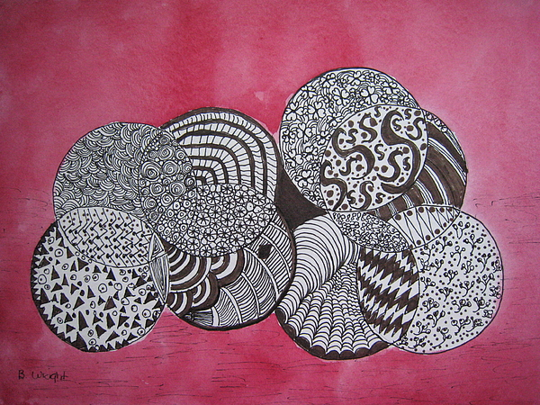 Zentangle Painting - Balls Of Yarn by Bonnie Wright
