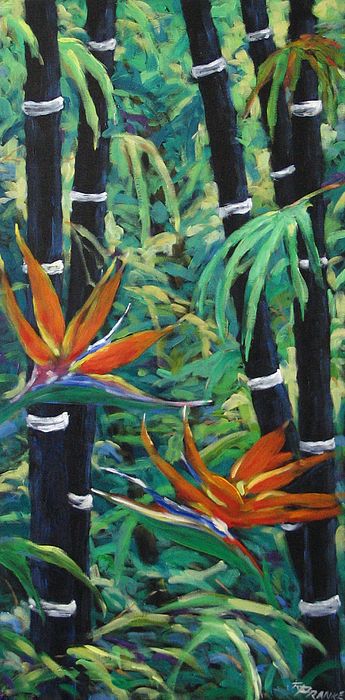 Bamboo Painting - Bamboo And Birds Of Paradise by Richard T Pranke