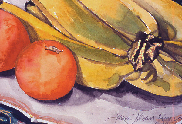 Still-life Painting - Bananas And Blood Oranges Still-life by Caron Sloan Zuger