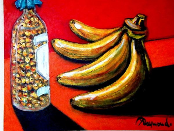 Bananas And Nance In Bottle Painting by Yasemin Raymondo