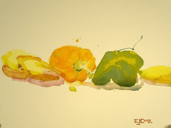 Still Life Painting - Bananas And Peppers Line Up by Elizabeth Carr