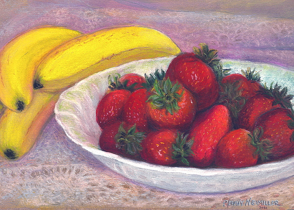 Bananas Painting - Bananas And Strawberries by Penny Neimiller