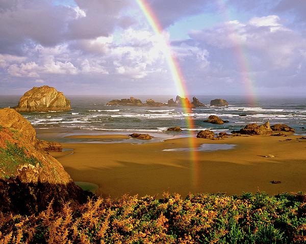 Ocean Photograph - Bandon Beach Rainbow Sunrise by Ed  Riche