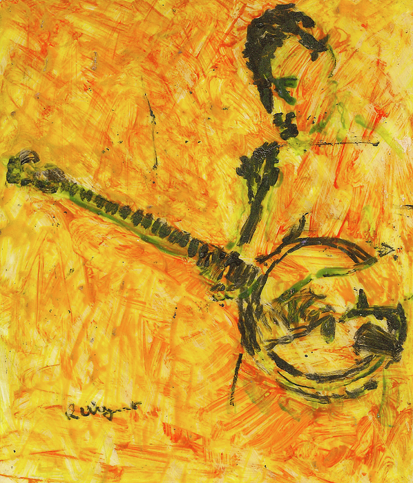 Lacquer Painting - Banjo Player by Richard Wynne