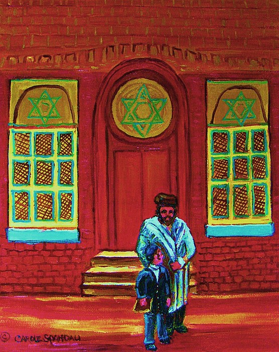 Synagogues Painting - Bar Mitzvah Lesson At The Synagogue by Carole Spandau