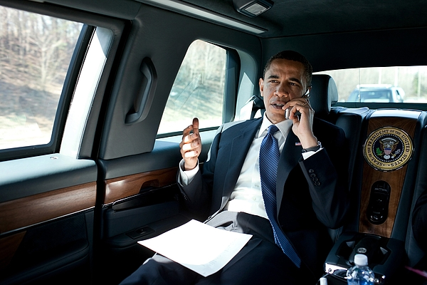 History Photograph - Barack Obama Talks To A Member by Everett