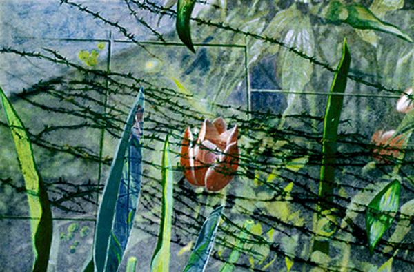 Tulips Painting - Barbed Vine by Nancy  Ethiel