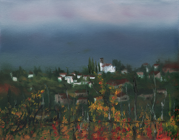 Italy Painting - Bargathrough The Fog by Leah Wiedemer