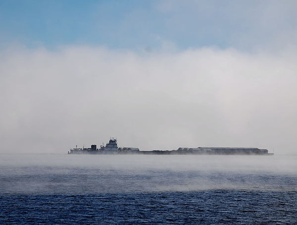 Barge Photograph - Barge In Morning Fog by Larry Nielson
