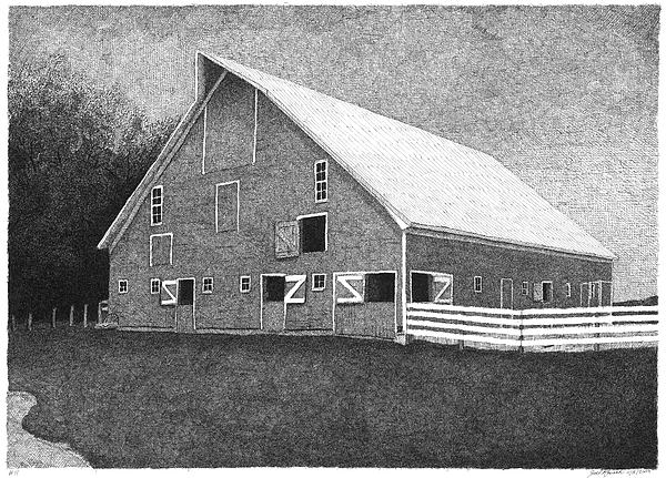 Landscape Drawing - Barn 11 by Joel Lueck