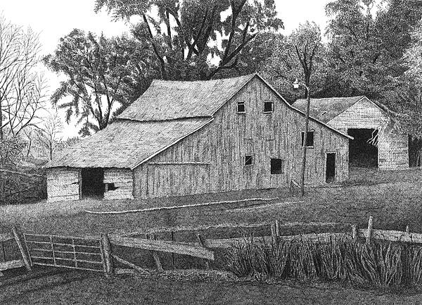 Landscape Drawing - Barn 14 by Joel Lueck