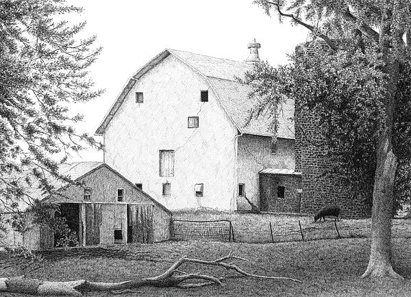 Manilla Drawing - Barn 23 by Joel Lueck
