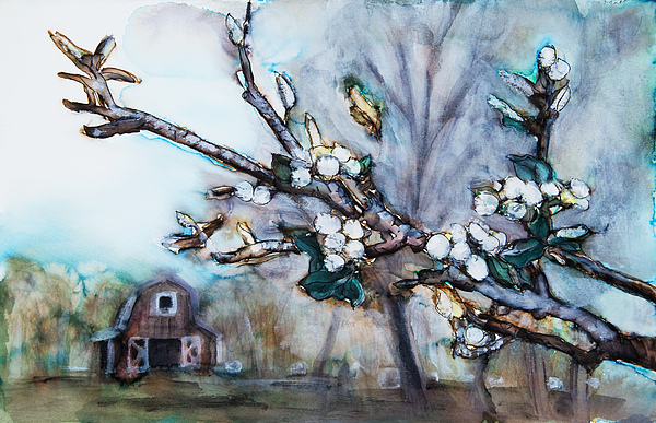 Abstract Painting - Barn And Blossoms by Tara Thelen
