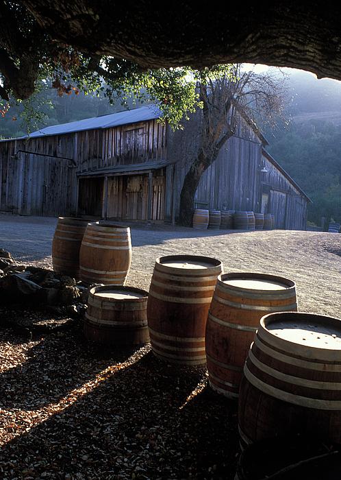 Barns Photograph - Barn And Wine Barrels by Kathy Yates